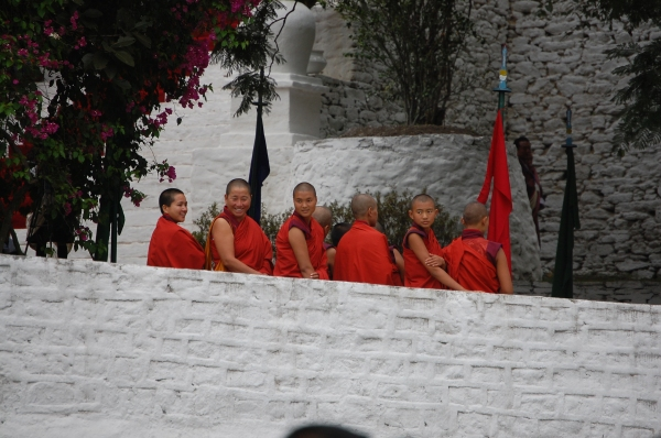 Bhutanese monks waiting for the arrival of Jetsun Pema to her wedding