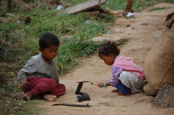 children playing intently
