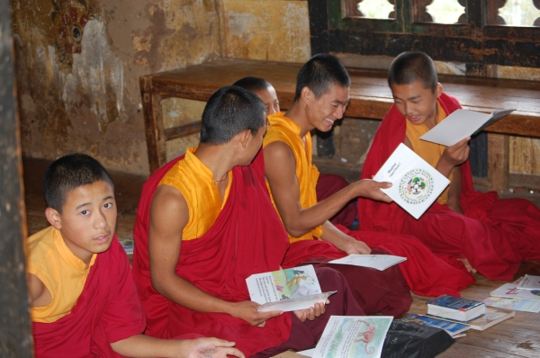 Monks studying english at Chimi Lakhang