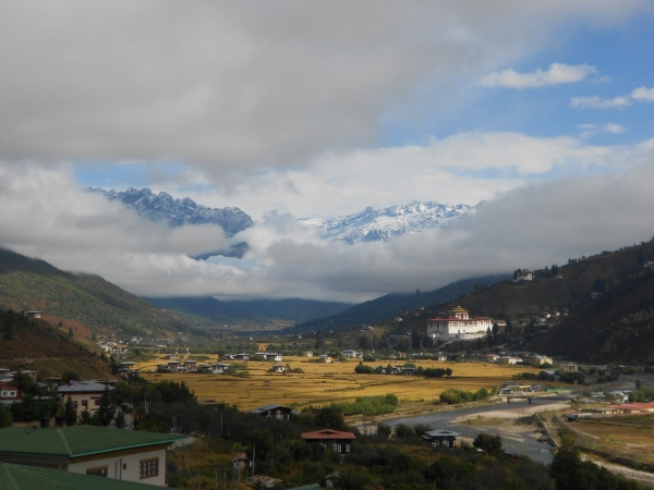 Paro Valley with snow on the mountains
