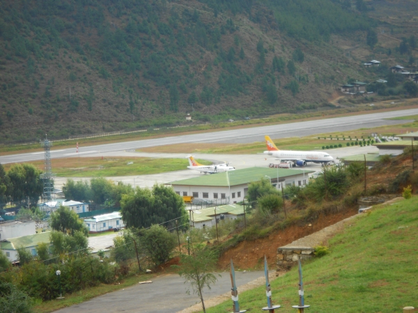 Looking down upon the Paro Airport