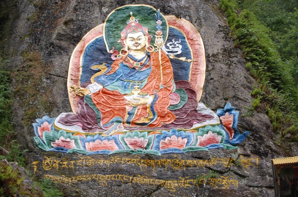 painting of Ruru Rinpoche on a rock